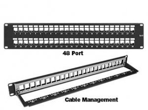 2RU patch panel with 48 keystone holes for RJ45 connectors