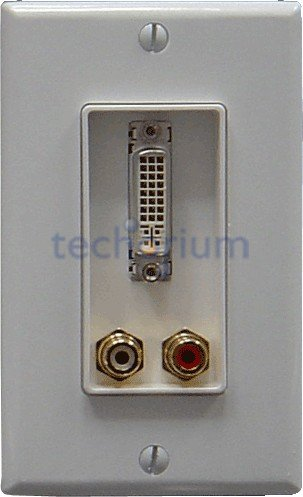 Decora DVI & Stereo Audio Plate w/f Connectors - Click Image to Close