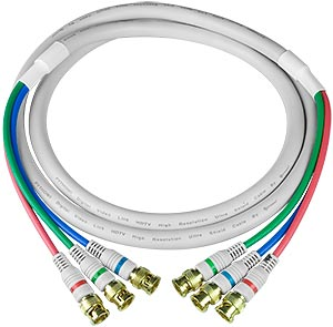 RGBS coax cable, 3 BNC male-to-male, 6 feet