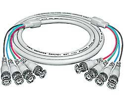RGBS coax cable, 4 BNC male-to-male, 6 feet
