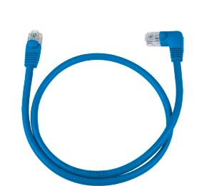 CAT5e Left Angle to Straight Patch Cable, Blue, 2ft