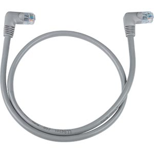 CAT5e Right Angle Patch Cable, Gray, 7ft