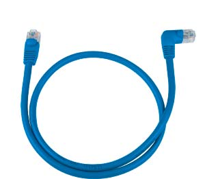 CAT5e Right Angle to Straight Patch Cable, Blue, 2ft