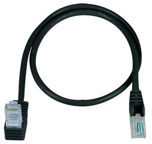 CAT5e Up Angle to Straight Patch Cable, Black, 2ft