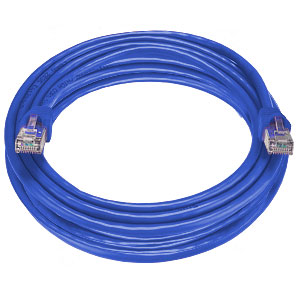 RJ45 male-male, CAT6 shielded blue cable, 100 feet