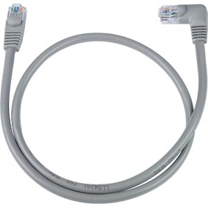 CAT6 Left Angle to Straight Patch Cable, Gray, 9ft