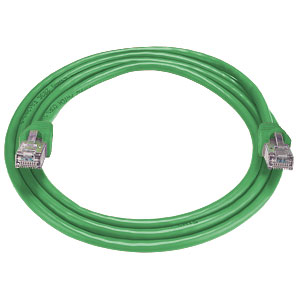 RJ45 male-male, CAT6 shielded green cable, 3 feet
