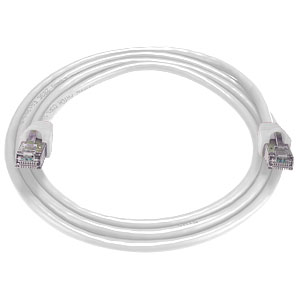 RJ45 male-male, CAT6 shielded white cable, 5 feet