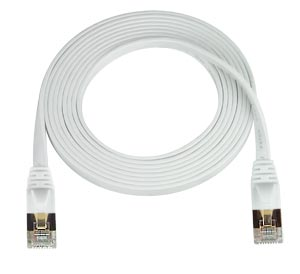 RJ45 cable male-male, CAT7 super flat, white, 25 feet