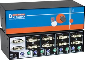 Dual DVI and PS/2 KVM Switch, 4 port