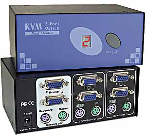 Dual VGA and PS/2 KVM Switch, 4 port