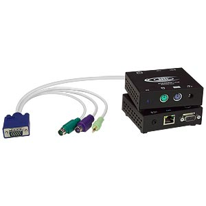 Keyboard, monitor, mouse & audio extender via cat5 with local access, up to 300 feet
