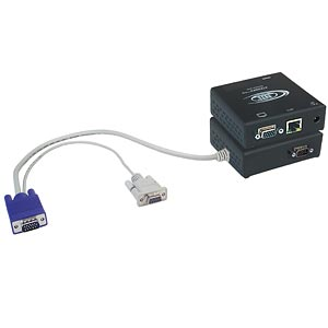 VGA & RS232 extender via cat5 with local monitor & speakers, up to 600 feet