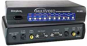 TV to VGA & VGA to TV video converter, up to 1024x768 VGA resolution, Composite, S-Video & D-Sub VGA outputs